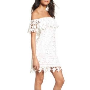ASTR White Chunky Lace Dress